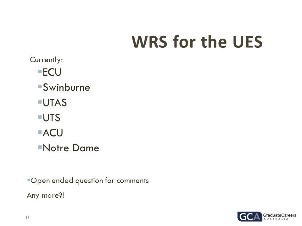 WRS for the UES ECU Swinburne UTAS UTS ACU Notre Dame Currently:
