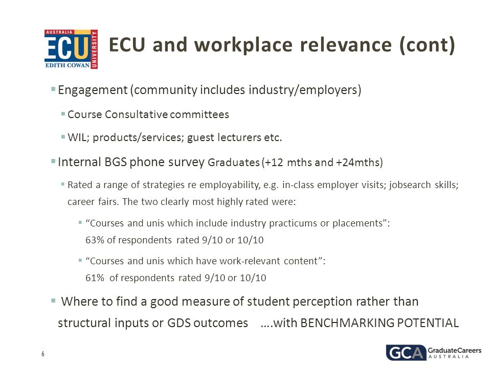 ECU and workplace relevance (cont)