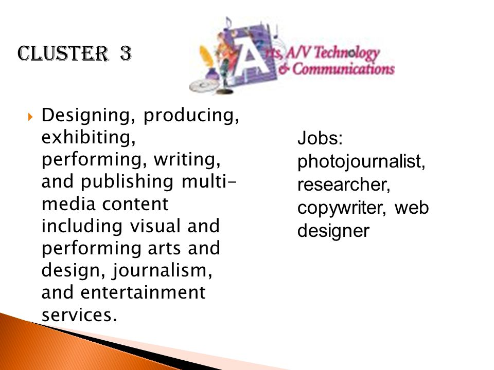 Cluster 3 Jobs: photojournalist, researcher, copywriter, web designer