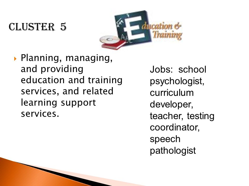 Cluster 5 Planning, managing, and providing education and training services, and related learning support services.