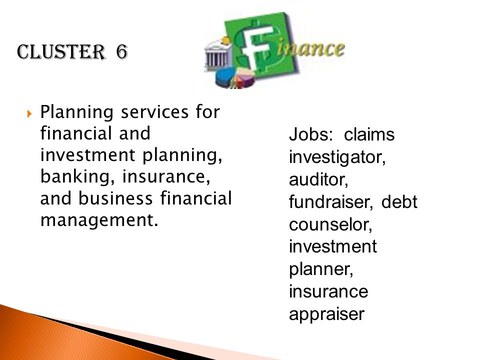 Cluster 6 Planning services for financial and investment planning, banking, insurance, and business financial management.