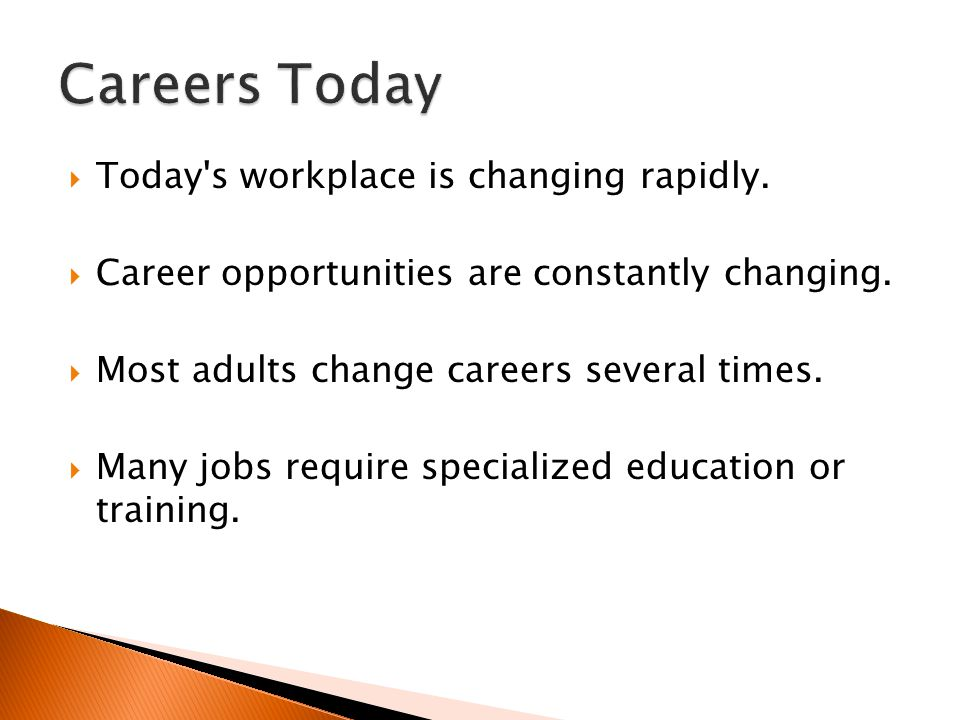 Careers Today Today s workplace is changing rapidly.