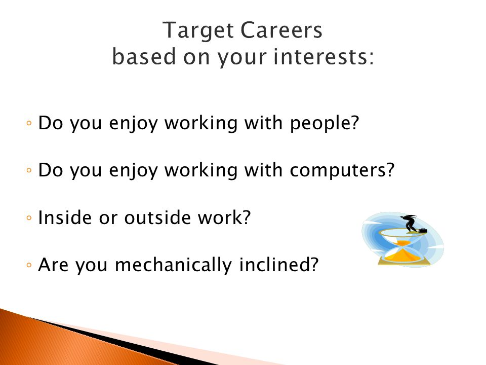 Target Careers based on your interests:
