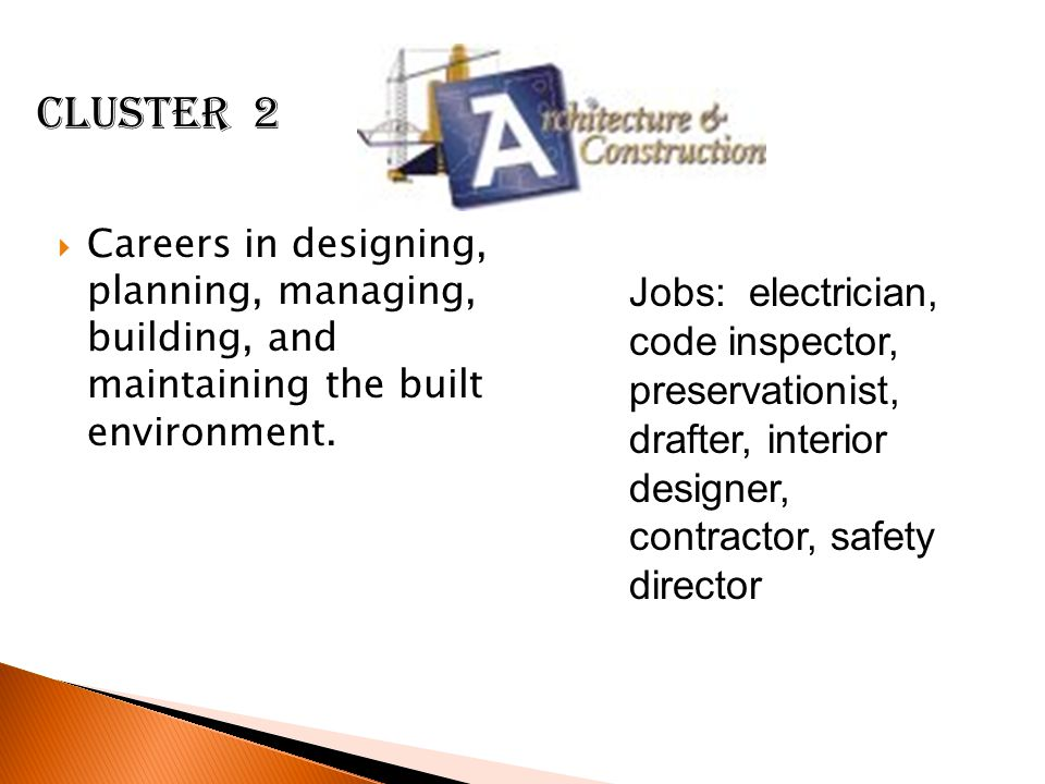 Cluster 2 Careers in designing, planning, managing, building, and maintaining the built environment.