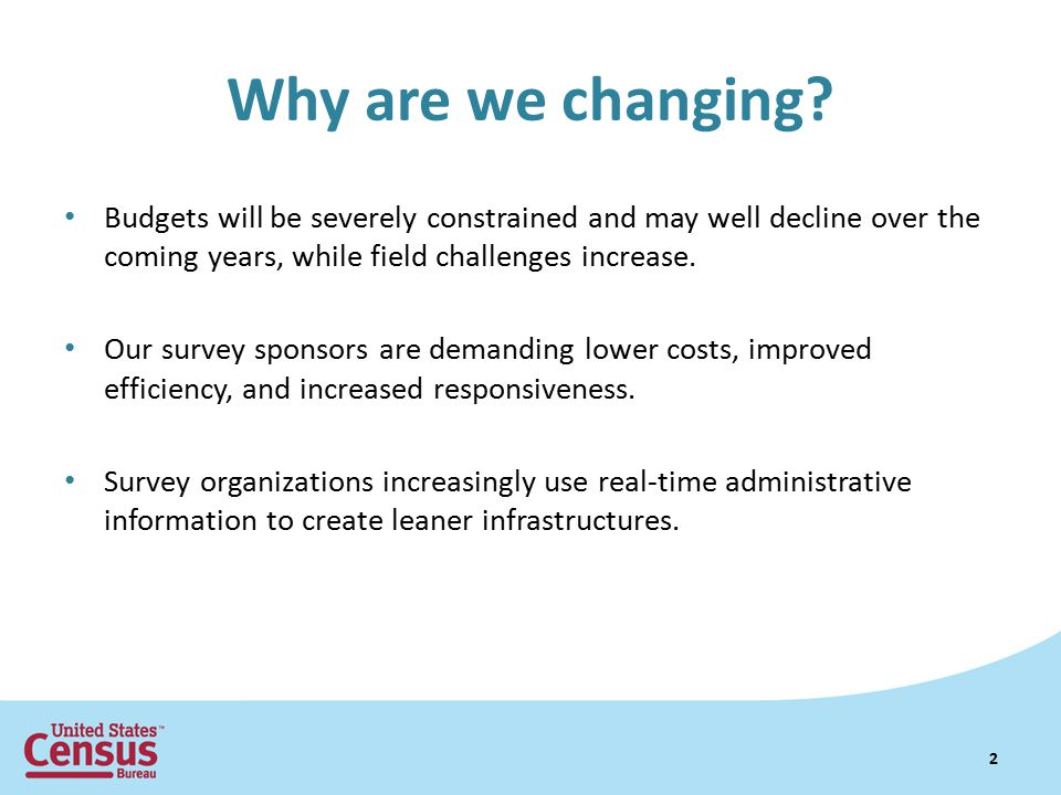 Why are we changing Budgets will be severely constrained and may well decline over the coming years, while field challenges increase.