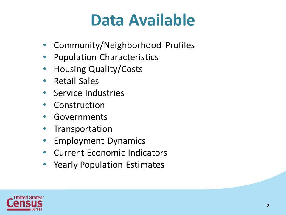 Data Available Community/Neighborhood Profiles