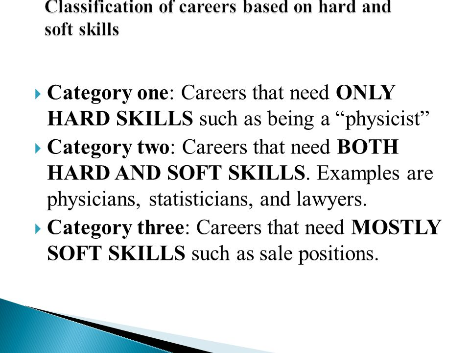 Classification of careers based on hard and soft skills