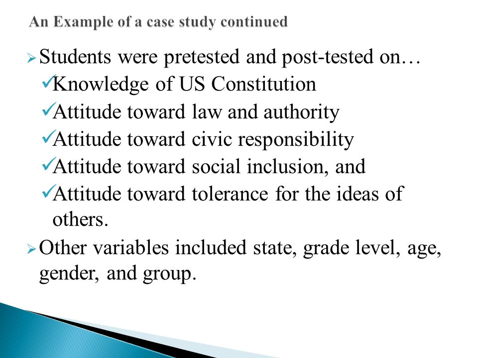 An Example of a case study continued
