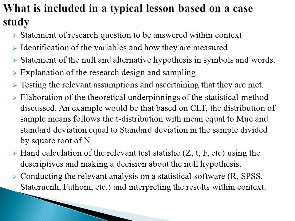 What is included in a typical lesson based on a case study