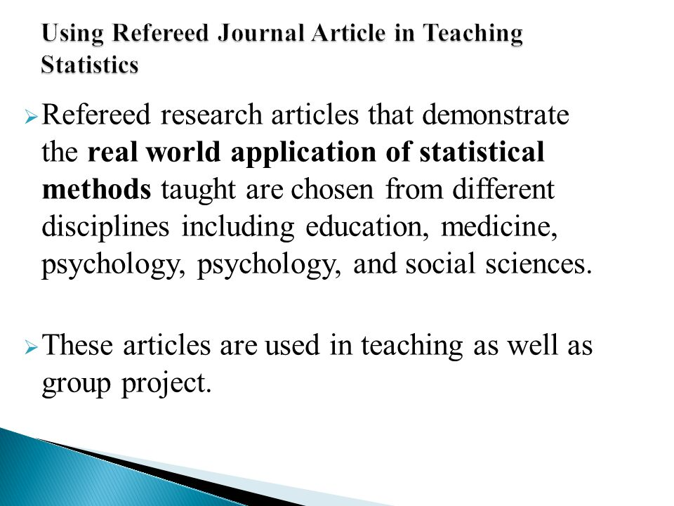 Using Refereed Journal Article in Teaching Statistics