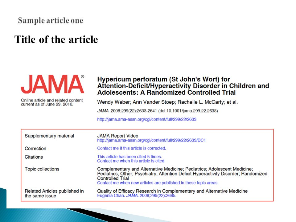Sample article one Title of the article