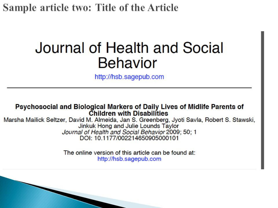 Sample article two: Title of the Article