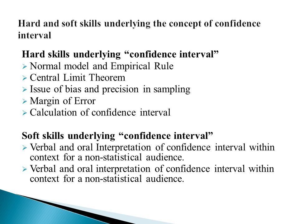 Hard and soft skills underlying the concept of confidence interval