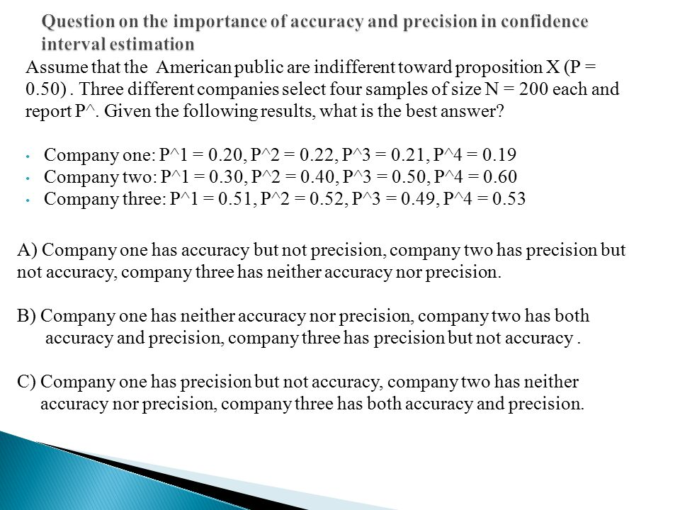 Question on the importance of accuracy and precision in confidence interval estimation