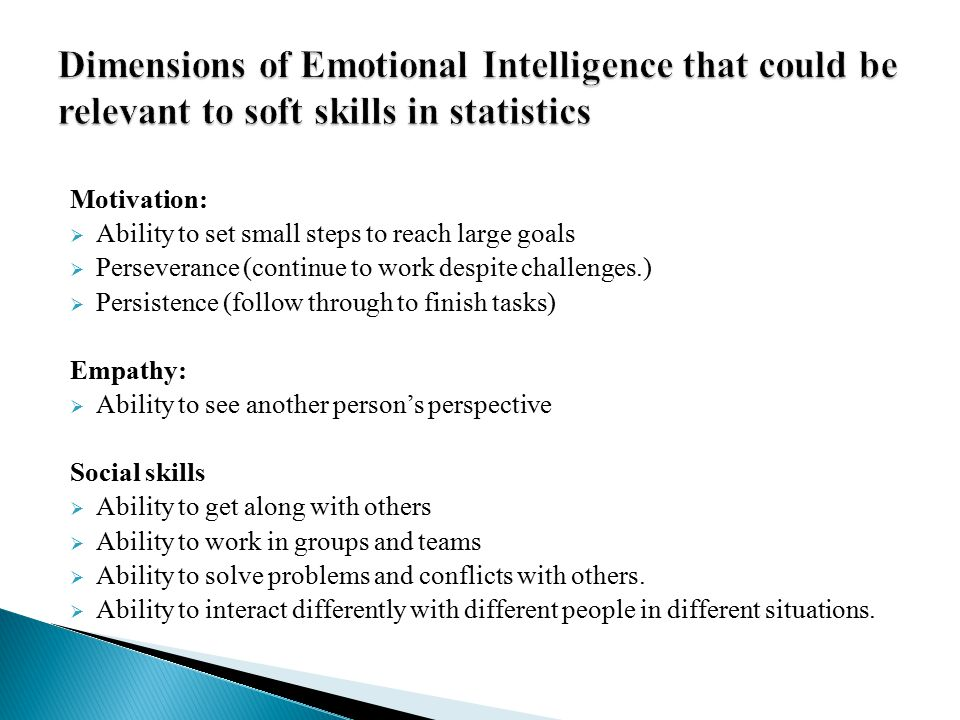 Dimensions of Emotional Intelligence that could be relevant to soft skills in statistics