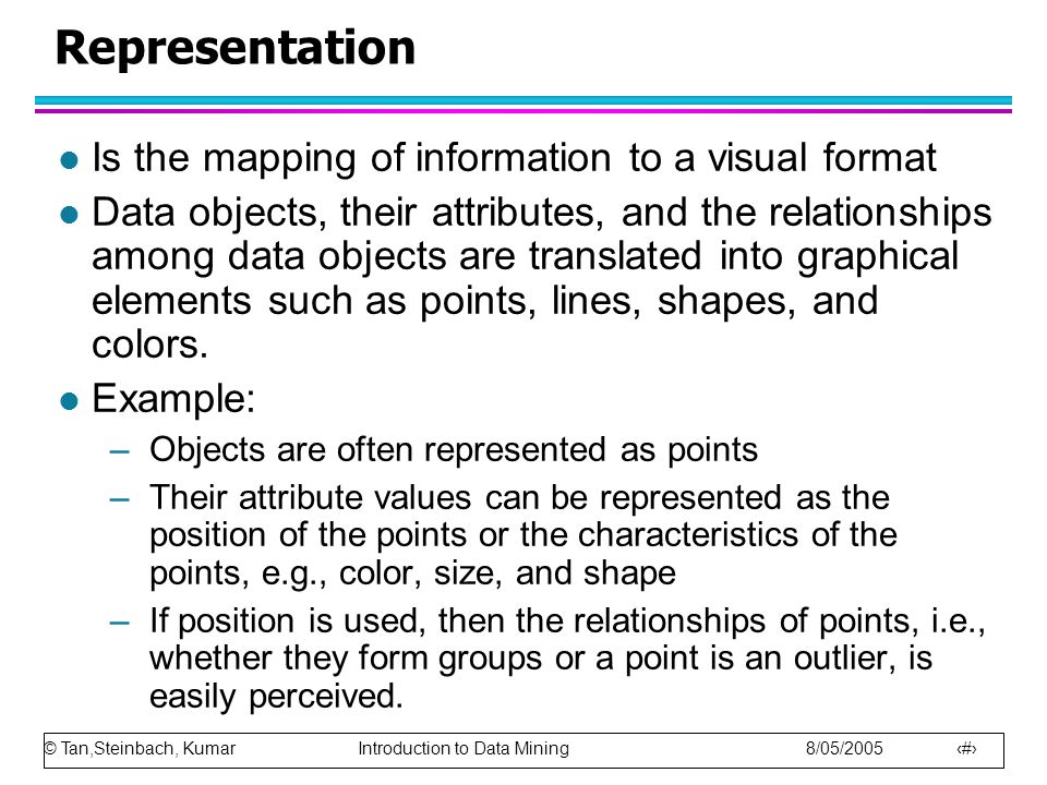Representation Is the mapping of information to a visual format