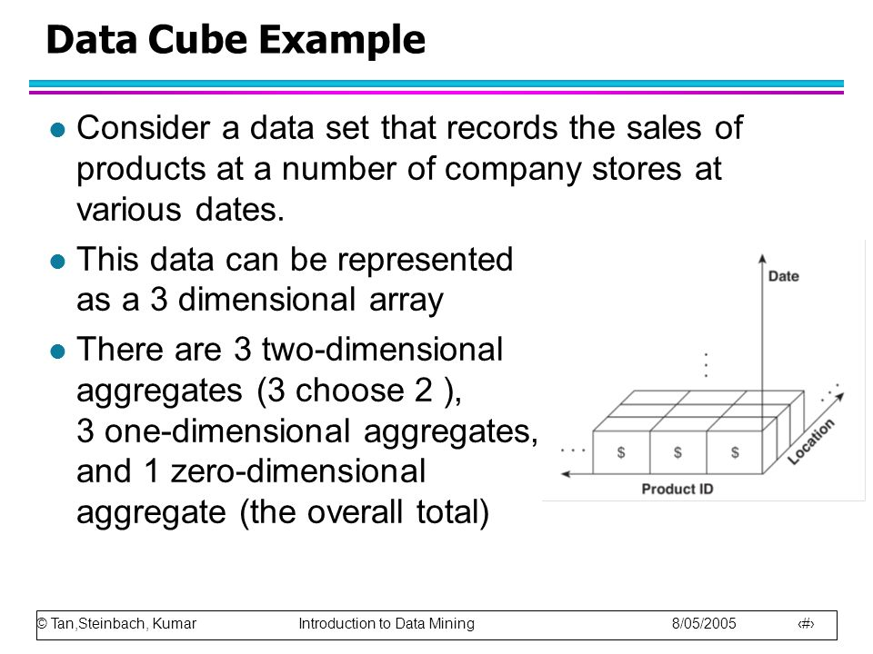 Data Cube Example Consider a data set that records the sales of products at a number of company stores at various dates.