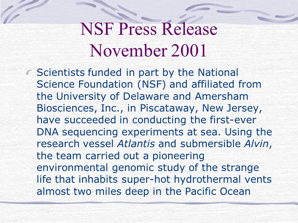 NSF Press Release November 2001