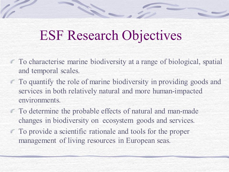 ESF Research Objectives
