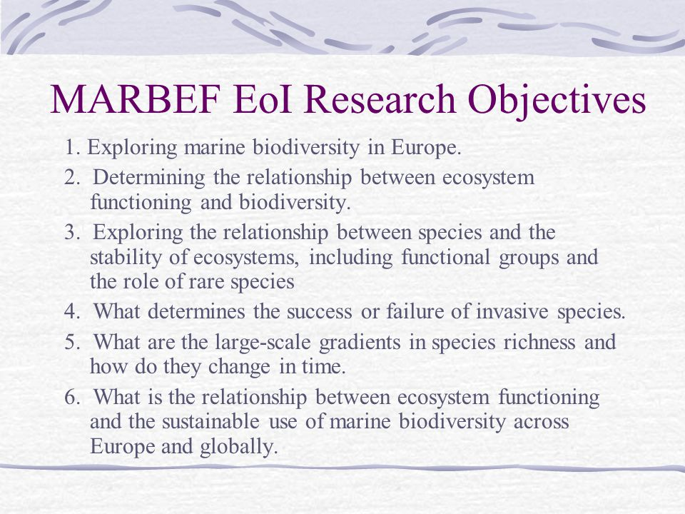 MARBEF EoI Research Objectives