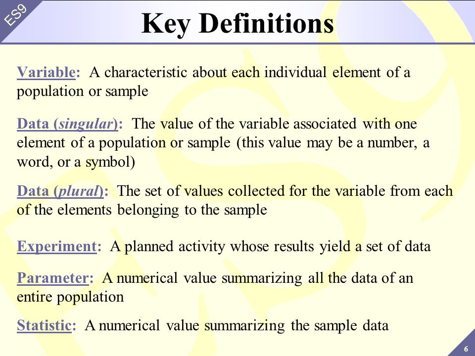 Key Definitions Variable: A characteristic about each individual element of a population or sample.
