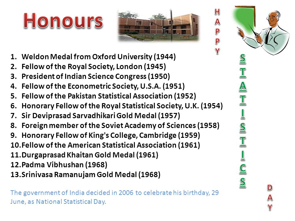 Honours S T I C H A P Y Weldon Medal from Oxford University (1944)