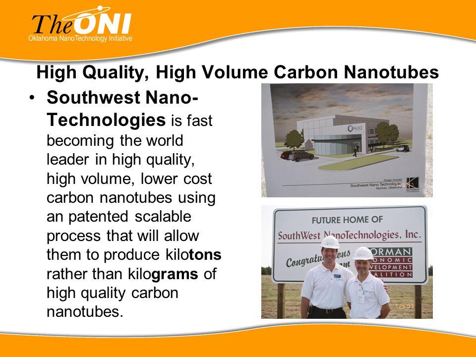 High Quality, High Volume Carbon Nanotubes