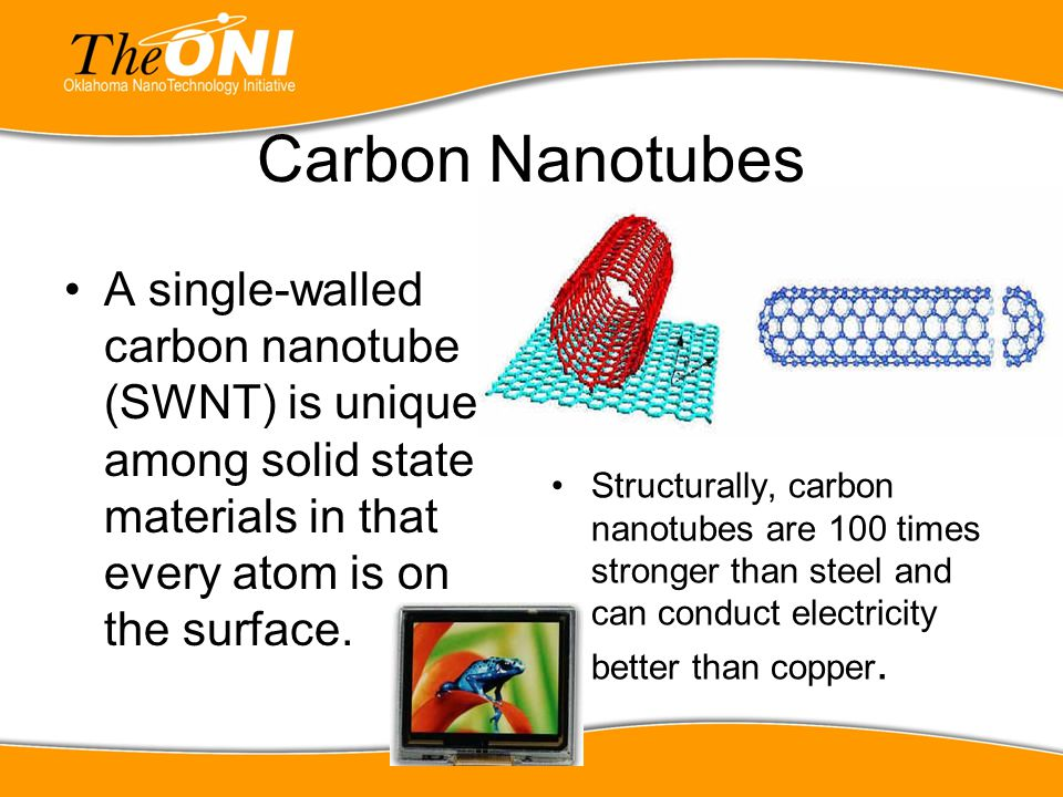 Carbon Nanotubes A single-walled carbon nanotube (SWNT) is unique among solid state materials in that every atom is on the surface.