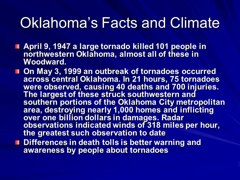 Oklahoma's Facts and Climate