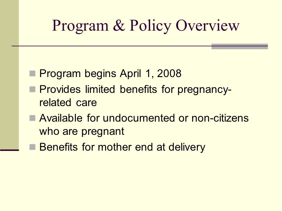 Program & Policy Overview