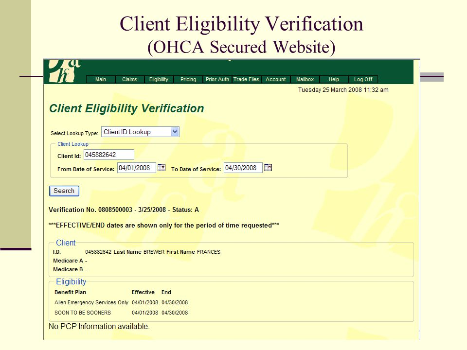 Client Eligibility Verification (OHCA Secured Website)