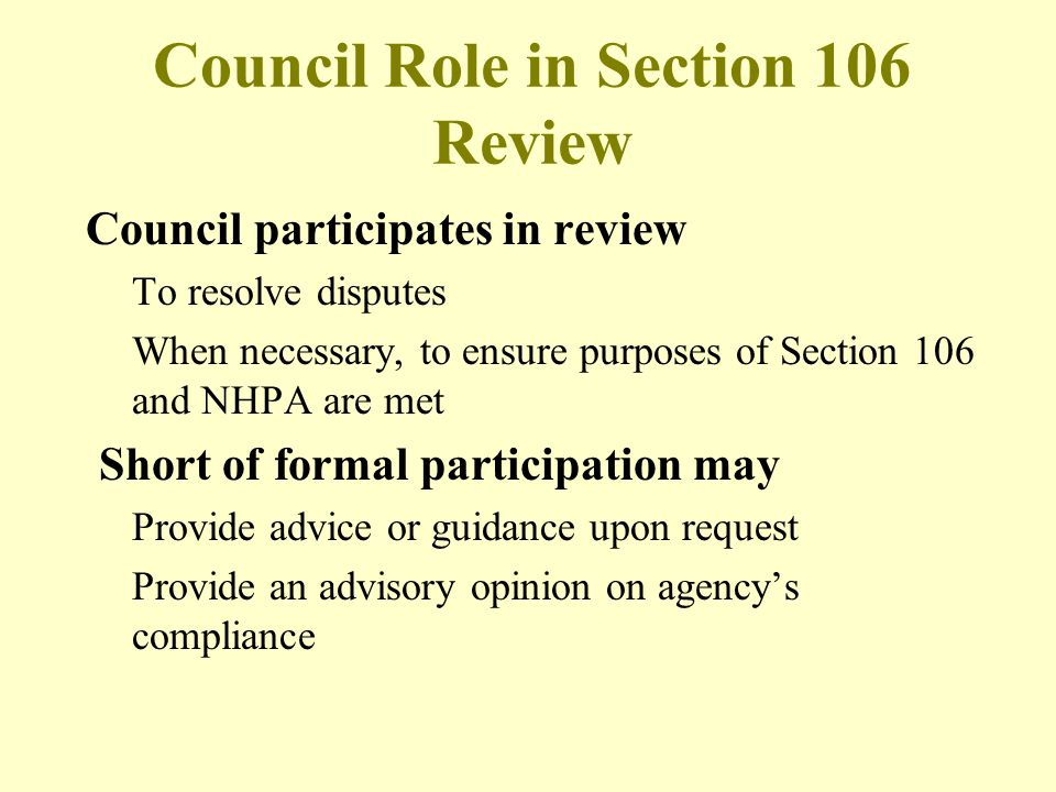 Council Role in Section 106 Review
