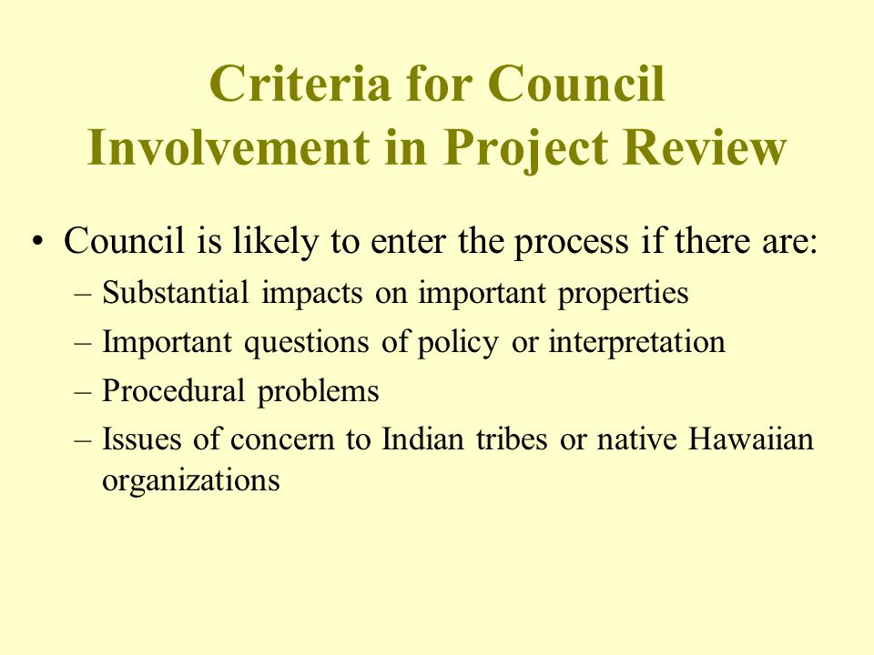 Criteria for Council Involvement in Project Review