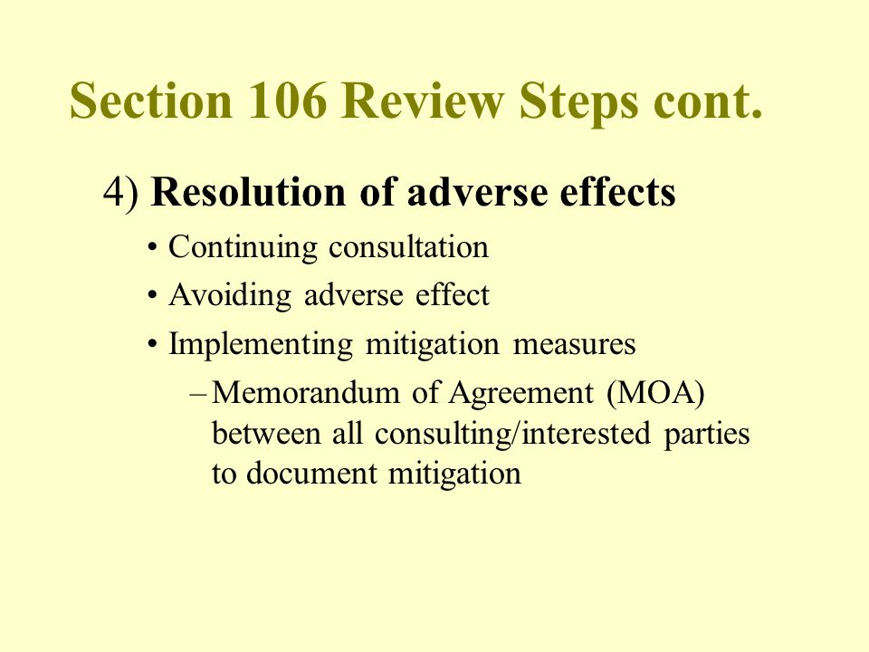 Section 106 Review Steps cont.
