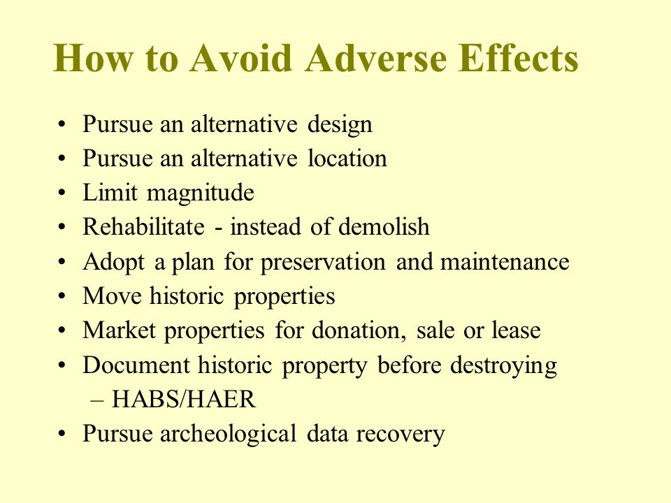 How to Avoid Adverse Effects