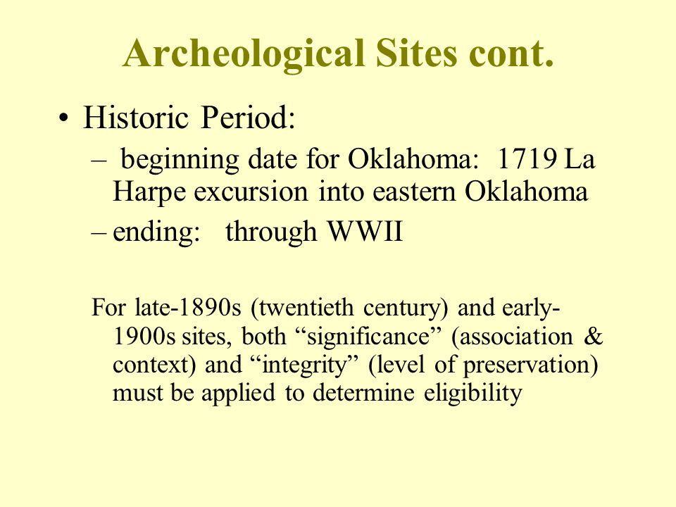 Archeological Sites cont.
