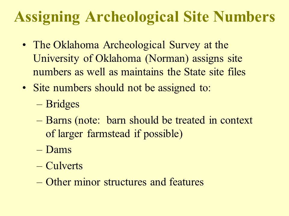 Assigning Archeological Site Numbers