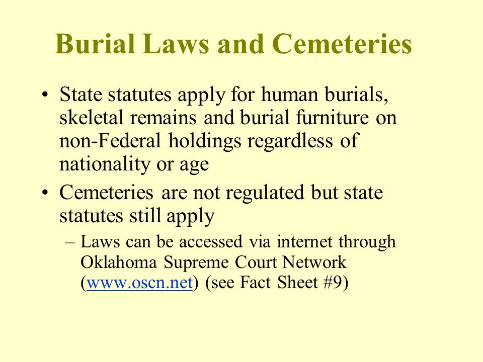 Burial Laws and Cemeteries