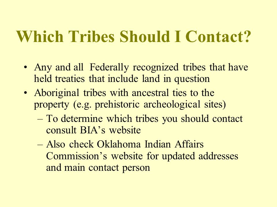 Which Tribes Should I Contact