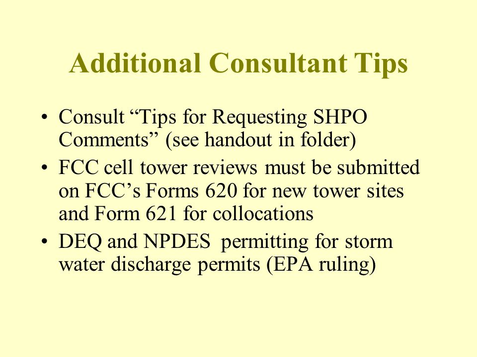 Additional Consultant Tips