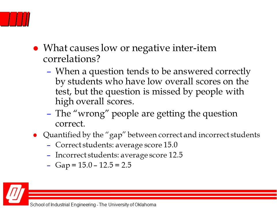 What causes low or negative inter-item correlations