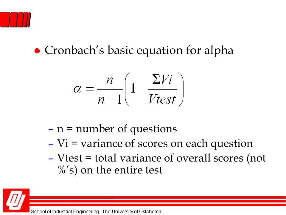 Cronbach's basic equation for alpha