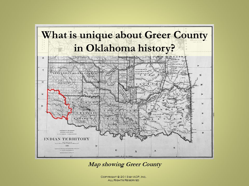 What is unique about Greer County Map showing Greer County