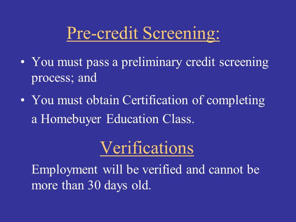Pre-credit Screening: