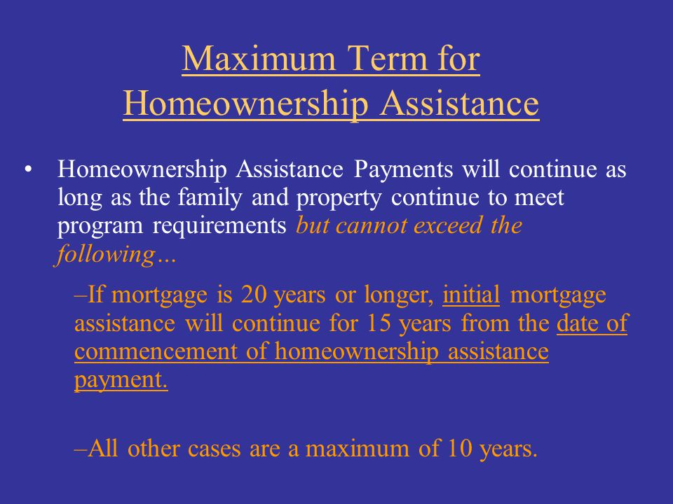 Maximum Term for Homeownership Assistance