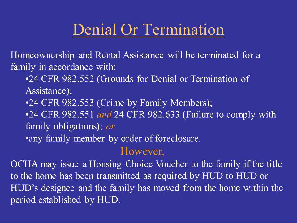 Denial Or Termination However,