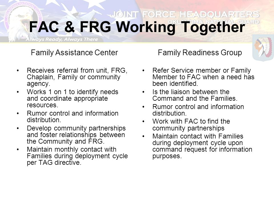 FAC & FRG Working Together