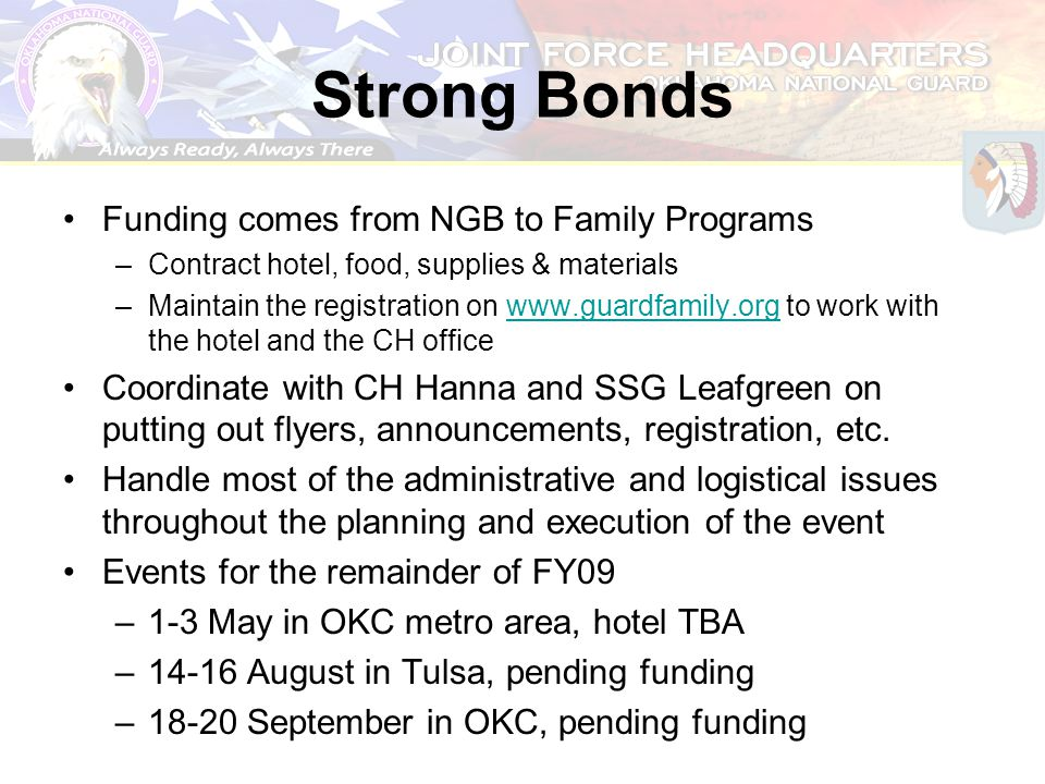 Strong Bonds Funding comes from NGB to Family Programs