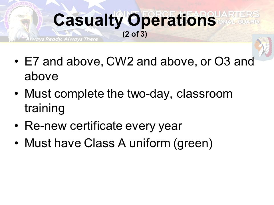 Casualty Operations (2 of 3)