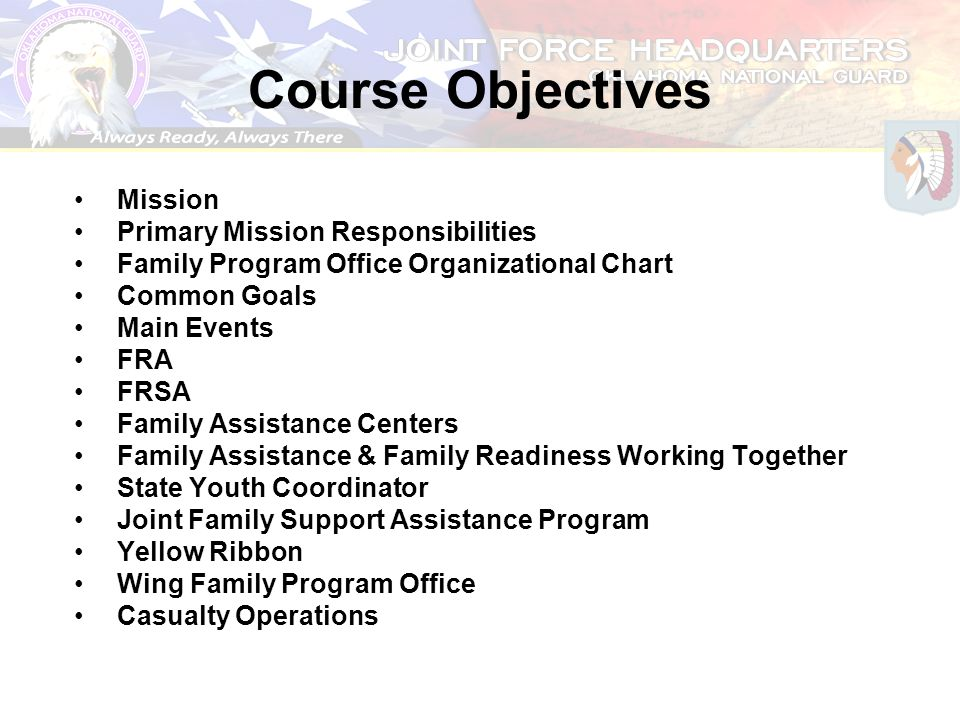 Course Objectives Mission Primary Mission Responsibilities